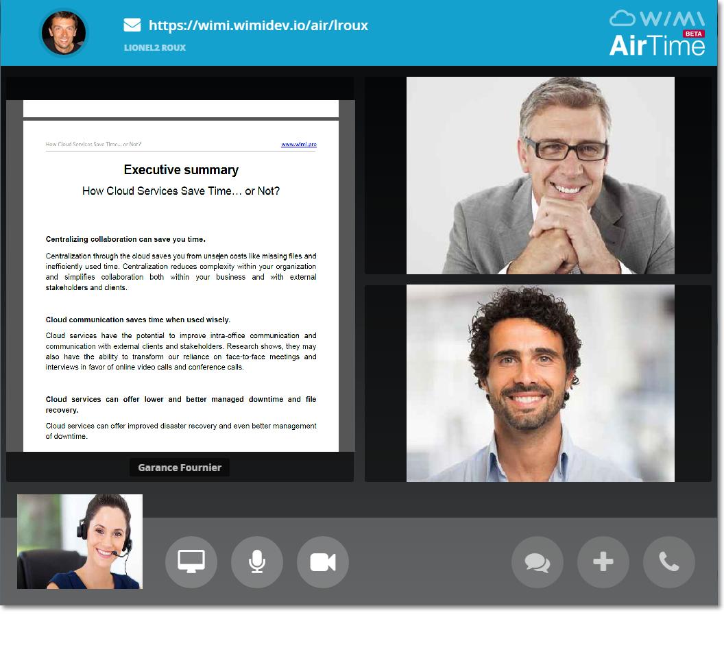 Wimi Airtime visio conference partage ecran