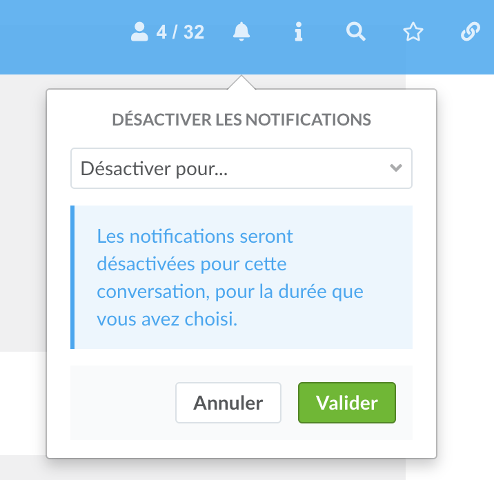 desactiver notifications chat
