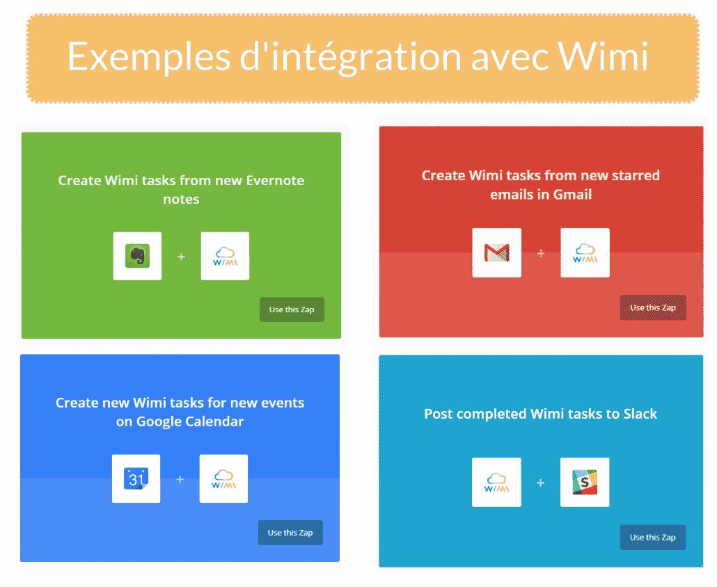 Exemples d'intégration avec Wimi & zapier
