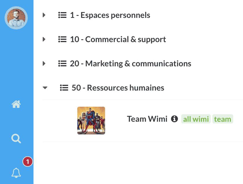 notification des activités sur wimi